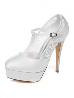 Women's Satin Platform Stiletto Heel Closed Toe Wedding Shoes