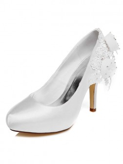 Women's Satin Spool Heel Closed Toe With Flower Wedding Shoes