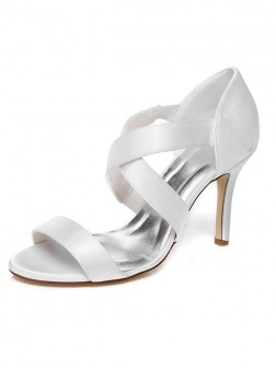 Women's Spool Heel Satin Peep Toe Wedding Shoes