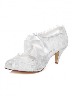 Women's Cone Heel Satin Peep Toe With Bowknot Wedding Shoes