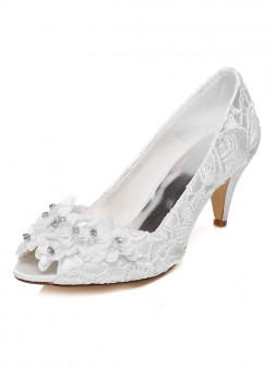Women's Satin Cone Heel Peep Toe With Flower Wedding Shoes