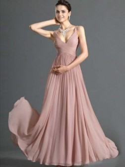 A-line V-neck Ruffles Sleeveless Floor-length Chiffon Dress