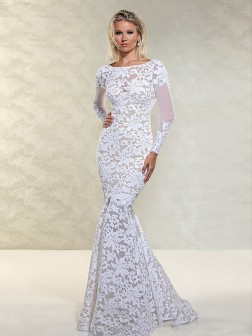Trumpet/Mermaid Bateau Long Sleeves Floor-Length Lace Dresses