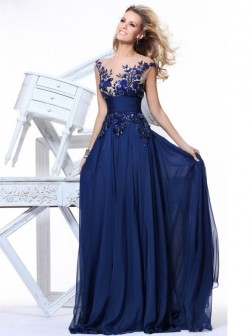A-Line/Princess Sleeveless Floor-Length Ruffles Chiffon Evening Dresses