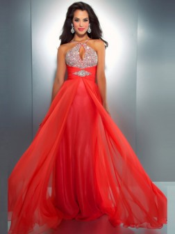A-line/Princess Sleeveless Halter Chiffon Floor-length Beading Dresses