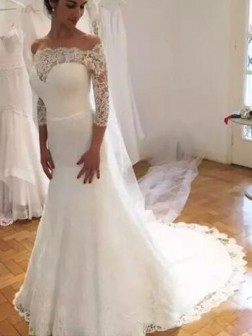 Trumpet/Mermaid Off-the-Shoulder 3/4 Sleeves Sweep/Brush Train Ruffles Lace Wedding Dresses