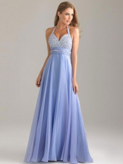 A-Line/Princess Halter Beading Sleeveless Chiffon Floor-Length Dresses