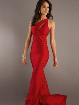 One Shoulder Trumpet/Mermaid Ruffles Sleeveless Sweep/Brush Train Elastic Woven Satin Dress