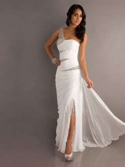 New Style Sheath/Column One Shoulder Chiffon Prom Dress