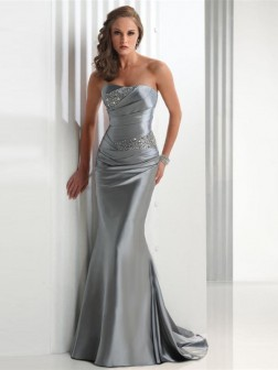 Sexy Strapless Beading Trumpet / Mermaid Sleeveless Prom Dress